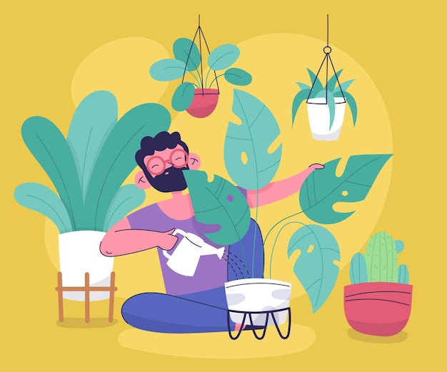 Flache leute, die sich um pflanzen kümmern