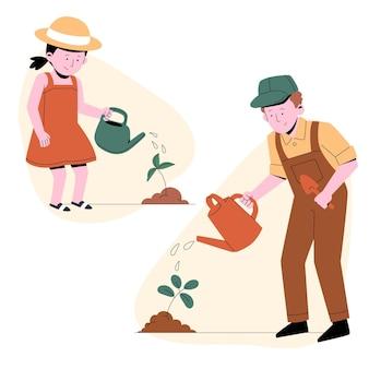 Flache leute, die sich um pflanzenillustration kümmern