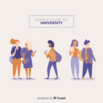 Flache leute, die zur universitätssammlung gehen