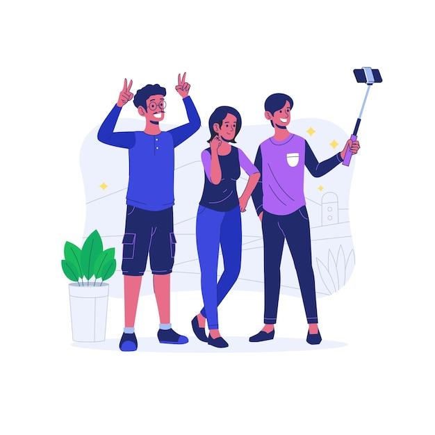 Flache leute, die zusammen selfie machen