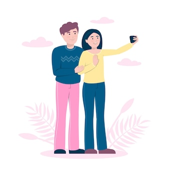 Flache leute, die zusammen selfies machen
