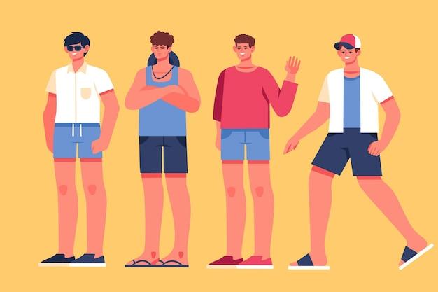 Flache leute mit sommerkleidungskollektion