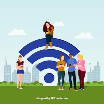 Flache leute mit wifi zeichenhintergrund