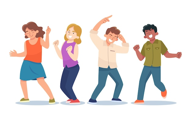 Flache leute tanzen zusammen