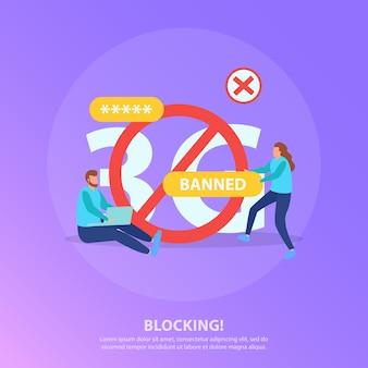 Flache lila illustration der internetblockierungszensur mit rotem kreisverbotszeichen und verbotenen benutzern