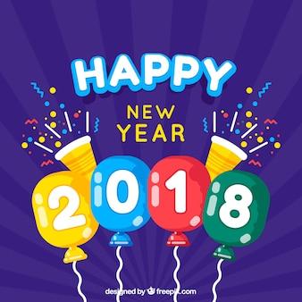 Flache lila neujahr hintergrund mit bunten luftballons