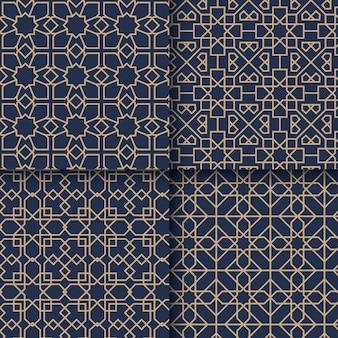 Flache lineare arabische musterpackung