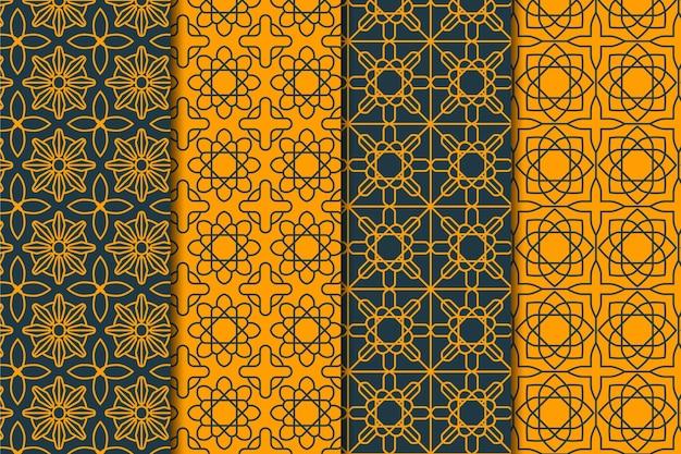 Flache lineare arabische mustersammlung