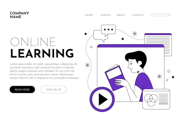 Flache lineare e-learning-plattform
