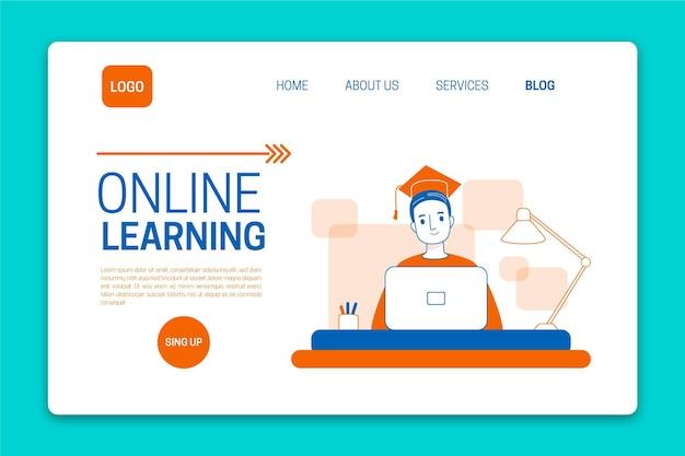 Flache lineare online-lern-landingpage-vorlage