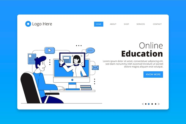 Flache lineare online-lern-landingpage