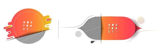 Flache lineare werbeaktion geometrische formen banner scroll aufkleber abzeichen preisschild poster