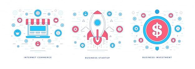 Flache linie banner kommerzielle lösungen und startup