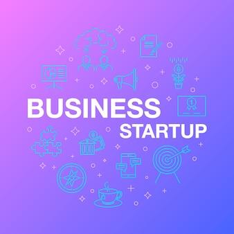 Flache linie design von business-startup-ikonen.