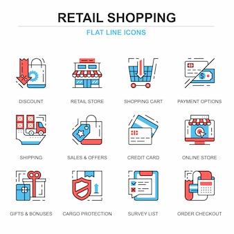 Flache linie einkaufen und e-commerce-ikonenkonzepte eingestellt