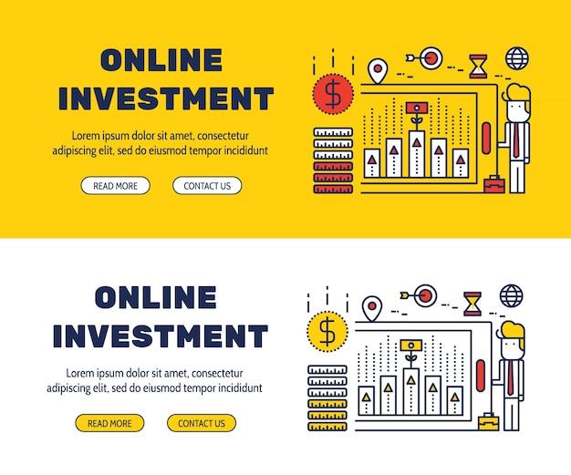 Flache linie icons design von online-investment und elemente