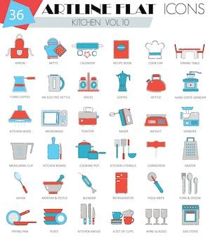 Flache linie ikonen der küchenwerkzeuge eingestellt
