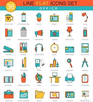Flache linie ikonen des büros eingestellt