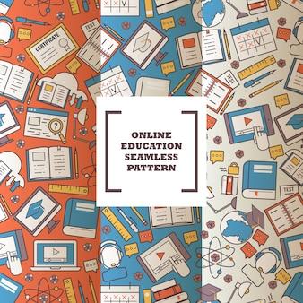 Flache linie ikonenhigh school des nahtlosen musters der on-line-bildung, die college oder universität erzieht