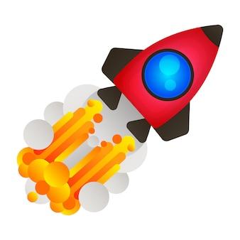 Flache linie konzept von start roket.
