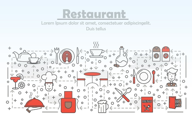 Flache linie kunstillustration des restaurantservice-werbungskonzeptes