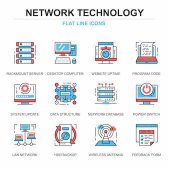 Flache linie netztechnologie-ikonenkonzepte eingestellt