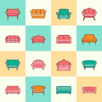 Flache linie satz der möbelinnensammlungsikonen der sofacouches modernen lokalisierte vektorillustration