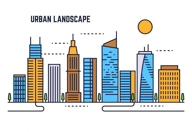 Flache linie vektor-design des städtischen stadtbilds