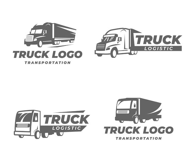 Flache lkw-logo-schablonensammlung