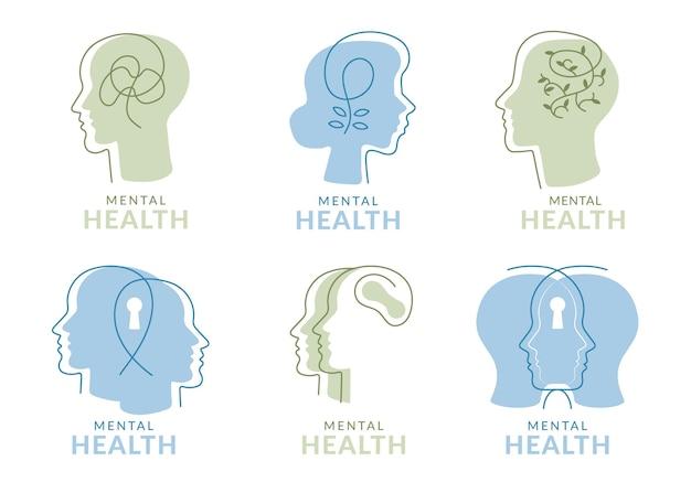 Flache logo-sammlung für psychische gesundheit