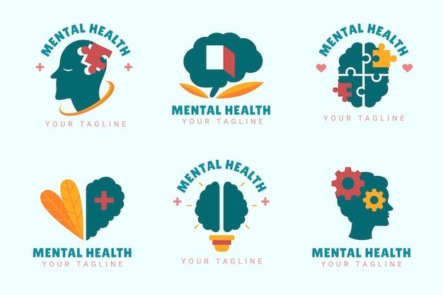 Flache logos für psychische gesundheit