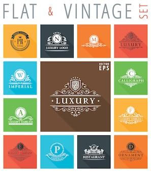 Flache logos und embleme mit schatteneffekt für webdesign