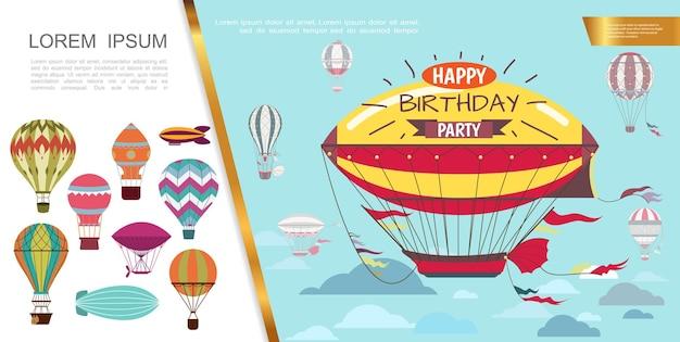 Flache luftgeburtstagsfeier mit luftschiffen und heißluftballons mit verschiedenen musterillustrationen