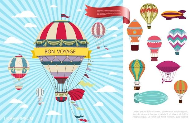 Flache luftreise bunt mit heißluftballons, die in den wolken auf blauer radialer hintergrundillustration fliegen
