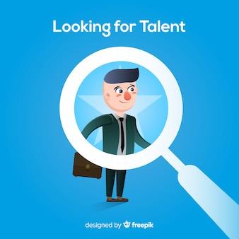 Flache lupe, die talenthintergrund schaut