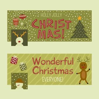 Flache lustige weihnachts-facebook-cover-set klassische palette