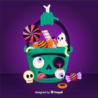 Flache lustige zombietasche halloweens