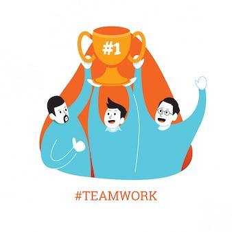 Flache männliche teamarbeit