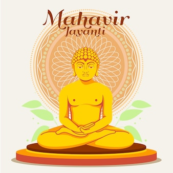 Flache mahavir jayanti illustration