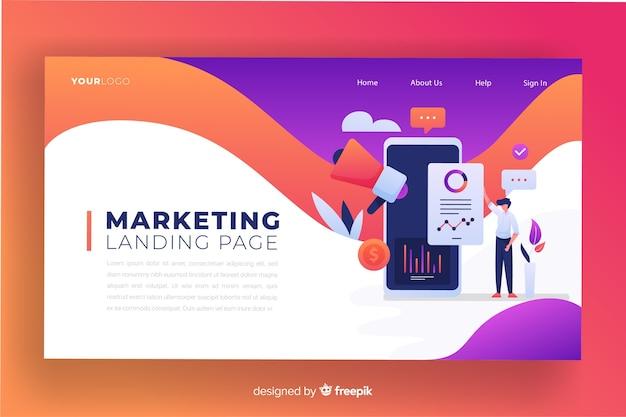 Flache marketing-landingpage-vorlage