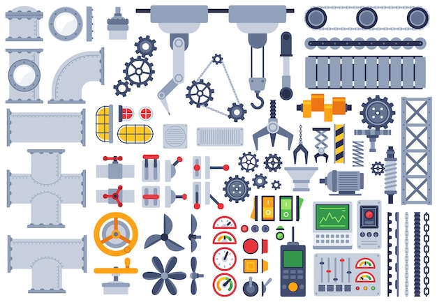 Flache maschinen. verschiedene mechanismen des autobaus, technische zahnräder, ritzel, welle, gelenke, vektorsatz für maschinenteile der fabrikausrüstung. illustration maschinenbau, ausrüstung und maschinenbau