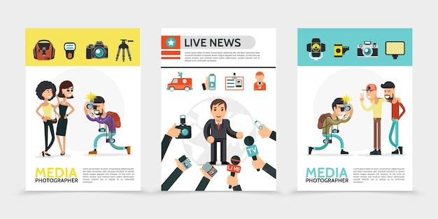 Flache massenmedienplakate