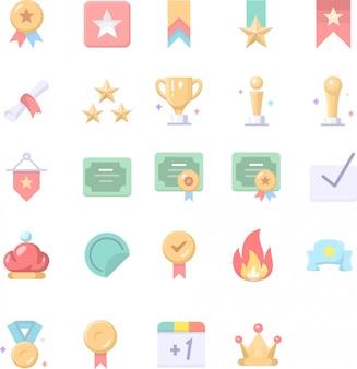 Flache medaille 3d icon set