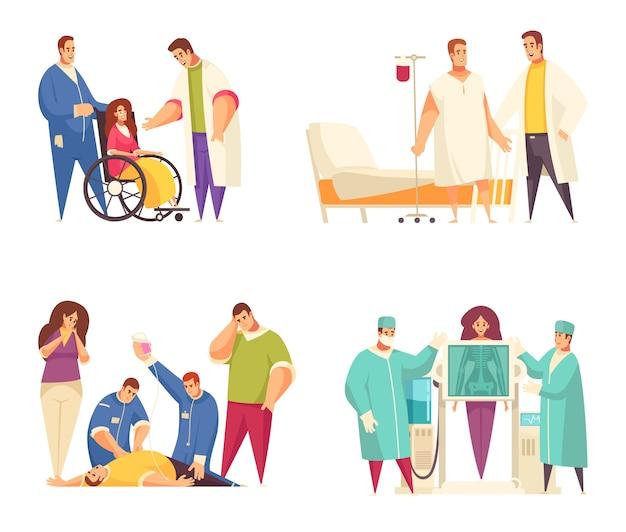 Flache medizinische entwurfskonzept gesetzt mit pflegeheim reanimation fluorographie rehabilitation beschreibungen vektor-illustration