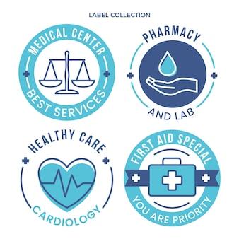 Flache medizinische etiketten sammeln