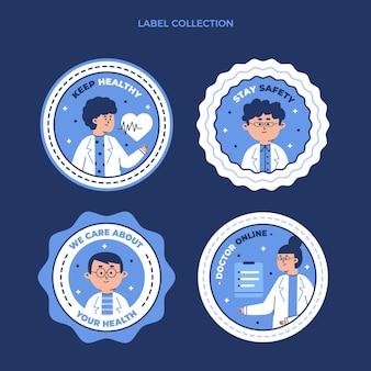 Flache medizinische etikettensammlung