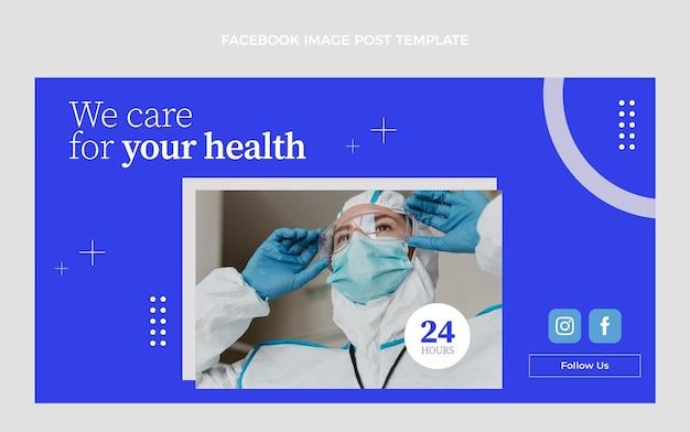 Flache medizinische facebook-postvorlage