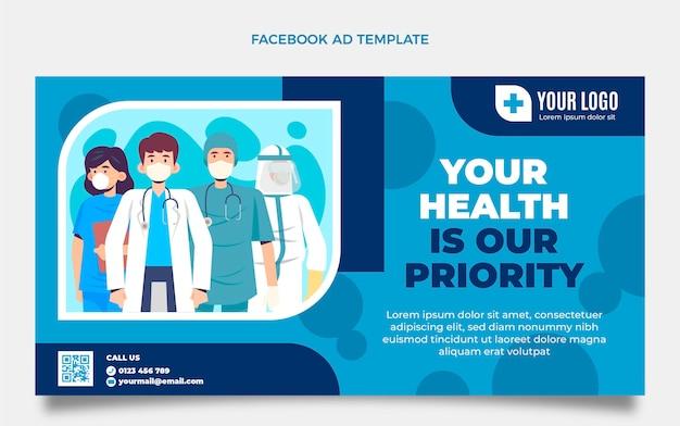 Flache medizinische facebook-vorlage
