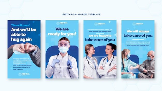 Flache medizinische instagram-geschichten