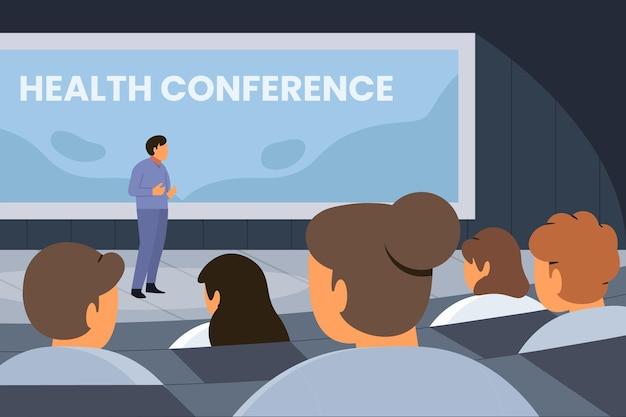 Flache medizinische konferenz illustriert